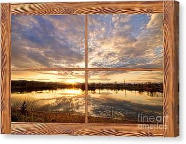 Golden Ponds Sunset Reflections  Barn Wood Picture Window View Canvas Print by James BO  Insogna