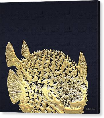Golden Puffer Fish On Charcoal Black Canvas Print by Serge Averbukh