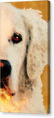 Canvas Print featuring the painting Golden Retriever Half Face By Sharon Cummings by Sharon Cummings