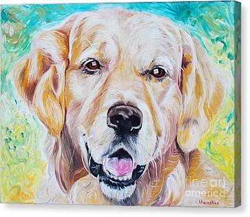 Canvas Print featuring the painting Golden Retriever by PainterArtist FINs husband Maestro
