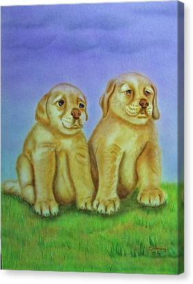 Canvas Print featuring the painting Golden Retriever by Thomas J Herring