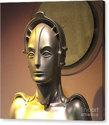 Canvas Print featuring the photograph Golden Robot Lady Closeup by Cynthia Snyder