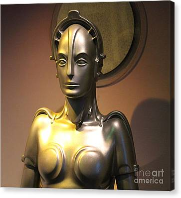 Canvas Print featuring the photograph Golden Robot Lady by Cynthia Snyder