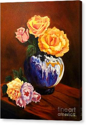 Canvas Print featuring the painting Golden Roses by Jenny Lee