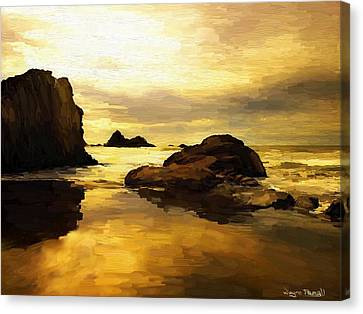 Canvas Print featuring the painting Golden Sands by Wayne Pascall
