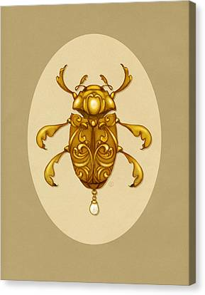 Art Deco Jewelry Canvas Print - Golden Scroll Beetle by Catherine Noel