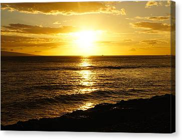 Golden Sky In Paradise Canvas Print by Art Spectrum