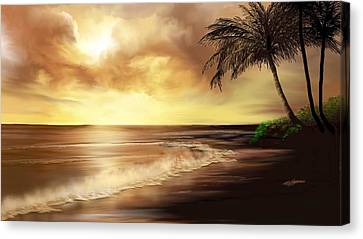 Palm Trees Canvas Print - Golden Sky Over Tropical Beach by Anthony Fishburne