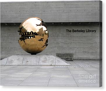 Canvas Print featuring the photograph Golden Sphere By The Berkeley Library by Menega Sabidussi