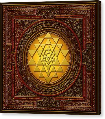 Yantra Canvas Print - Golden  Sri Lakshmi Yantra by Lila Shravani