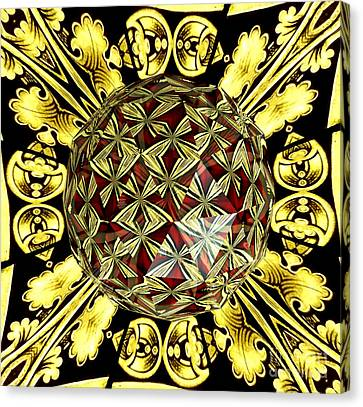 Golden Stained Glass Kaleidoscope Under Glass Canvas Print by Rose Santuci-Sofranko