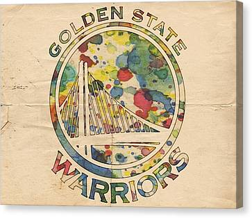 Golden State Warriors Logo Art Canvas Print by Florian Rodarte