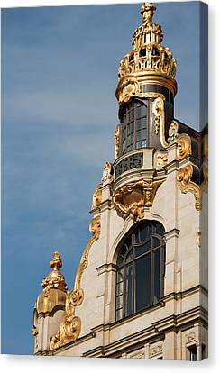 Golden Statuary Decorates The Downtown Canvas Print