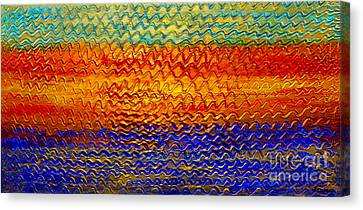 Golden Sunrise - Abstract Relief Painting Original Metallic Gold Textured Modern Contemporary Art Canvas Print by Emma Lambert