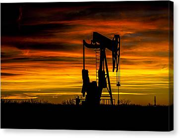 Golden Sunrise And West Texas Black Gold Canvas Print