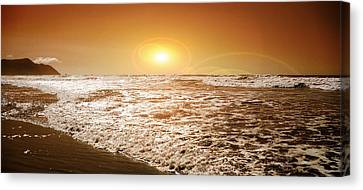 Water Canvas Print featuring the photograph Golden Sunset by Aaron Berg