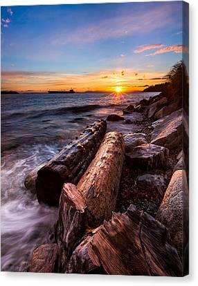 Beach Landscape Canvas Print - Golden Sunset by Alexis Birkill