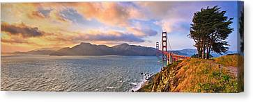 Stormy Weather Canvas Print - Golden Sunset  by Emmanuel Panagiotakis