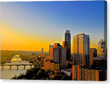 Golden Sunset In Austin Texas Canvas Print by Kristina Deane