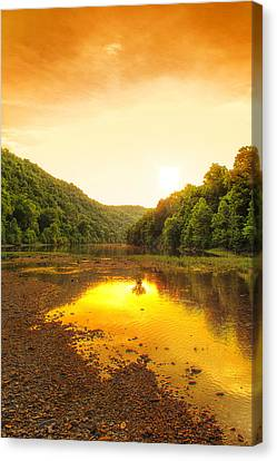 Golden Sunset On Buffalo River Canvas Print by Bill Tiepelman