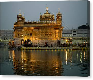 Golden Temple Canvas Print - Golden Temple Reflected In Pool by Panoramic Images