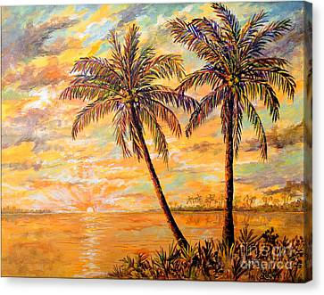 Canvas Print featuring the painting Golden Tropics by Lou Ann Bagnall