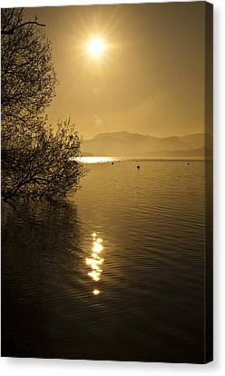 Canvas Print featuring the photograph Golden Ullswater Evening by Meirion Matthias