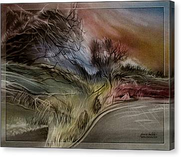 Canvas Print featuring the pastel Goldencoloradoroadscape 2010 by Glenn Bautista