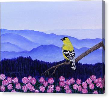 Canvas Print featuring the painting Goldfinch And Rhododendrens by Janet Greer Sammons