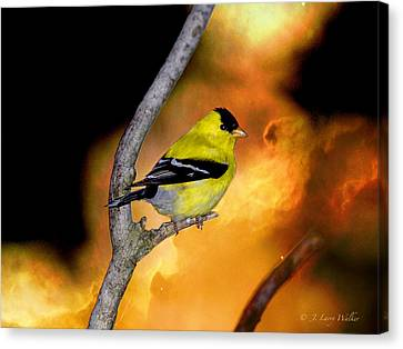 Canvas Print featuring the digital art Goldfinch At The Edge Of The Abyss by J Larry Walker