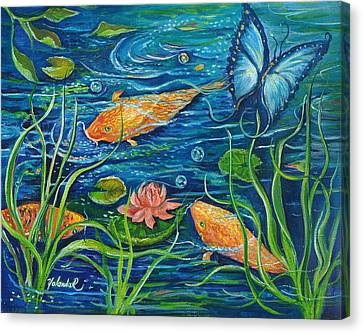 Canvas Print featuring the painting Goldfish And Butterfly by Yolanda Rodriguez
