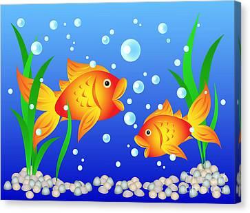 Goldfish In Aquarium Canvas Print