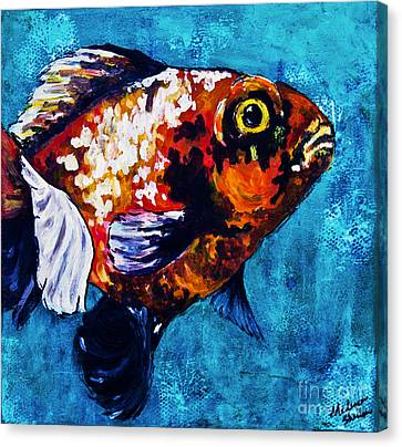 Canvas Print featuring the mixed media Goldie by Melissa Sherbon