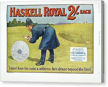 Law Enforcement Canvas Print - Golf Advertisement by British Library