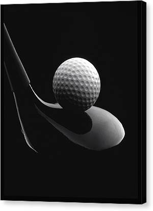 Golf Ball And Club Canvas Print by John Wong