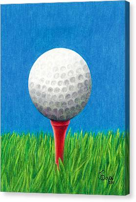 Canvas Print featuring the drawing Golf Ball And Tee by Janice Dunbar