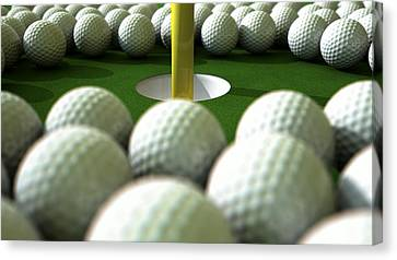 Golf Ball Hole Assault Canvas Print by Allan Swart