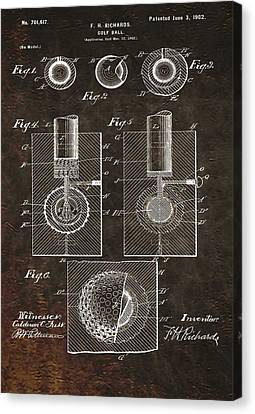 Golf Ball Patent On Leather Canvas Print