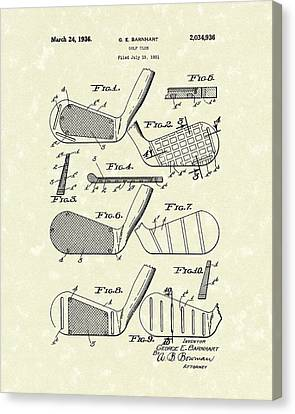 Golf Club 1936 Patent Art Canvas Print by Prior Art Design