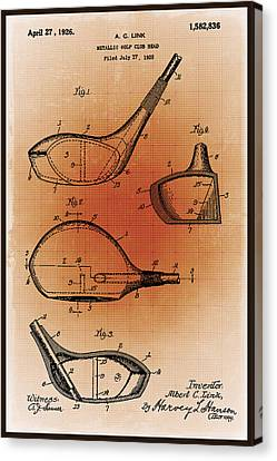 Technical Canvas Print - Golf Club Patent Blueprint Drawing Sepia by Tony Rubino