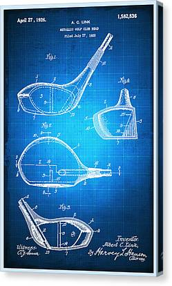 Technical Canvas Print - Golf Club Patent Blueprint Drawing by Tony Rubino
