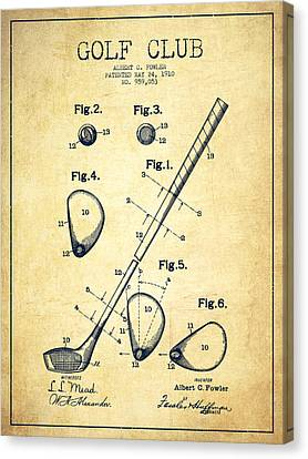 Golf Club Patent Drawing From 1910 - Vintage Canvas Print by Aged Pixel