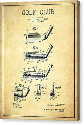 Match Canvas Print - Golf Club Patent Drawing From 1917 - Vintage by Aged Pixel