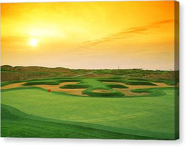 Golf Course At Dusk, Harborside Canvas Print by Panoramic Images