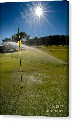 Golf Course Sprinkler On Sunny Day Canvas Print by Amy Cicconi