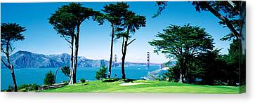 Boats In Water Canvas Print - Golf Course W\ Golden Gate Bridge San by Panoramic Images