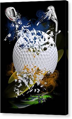 Golf Explosion Canvas Print by Davina Washington