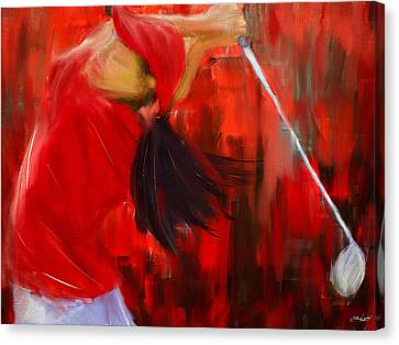 Tournament Canvas Print - Golf Swing by Lourry Legarde