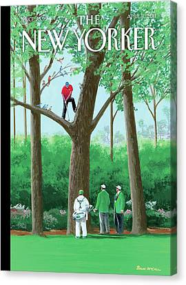 2011 Canvas Print - Golfer Making A Shot In A Tree While Different by Bruce McCall