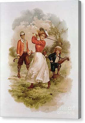 Golfing Canvas Print by Ellen Hattie Clapsaddle